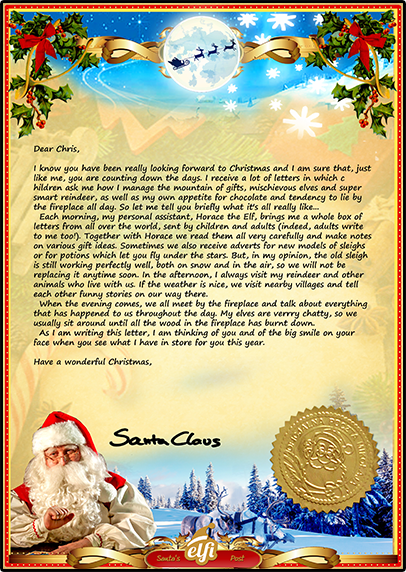 Letter from santa a personalised santa letter just for you for Generic letter from santa