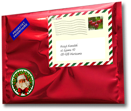 Your letter from Santa comes in this glossy red envelope with Santa's very own personal stamp