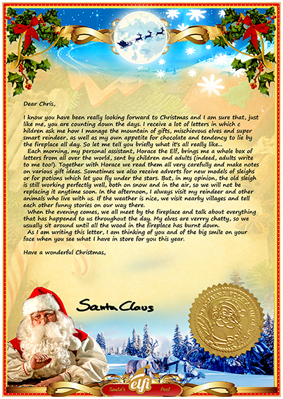 A preview of how the letter from Santa will look when it arrives through the post