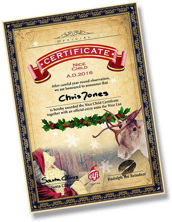 Each child gets a certificate to prove Santa has acknowledged that they have been nice this year