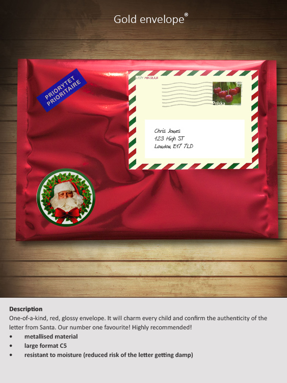 Letter from santa a personalised santa letter just for you gold envelope spiritdancerdesigns Images