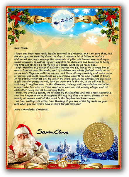 Letter from santa a personalised santa letter just for you a preview of how the letter from santa will look when it arrives through the post spiritdancerdesigns