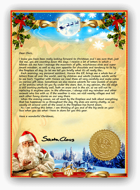 secret santa letter template letter from santa a personalised santa letter just for you 18429 | letter from santa